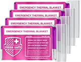 Emergency Mylar Thermal Blankets (4-Pack) + Bonus Signature Gold Foil Space Blanket: Designed for NASA, Outdoors, Hiking, Survival, Marathons or First Aid