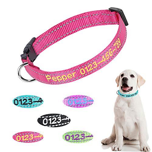 Collare per Cane in Nylon Personalizzato Personalizzato, Nome identificativo Ricamato Collare per Cani Reflective da Esterno con 3 Dimensioni Regolabili: Piccolo, Medio, Grande