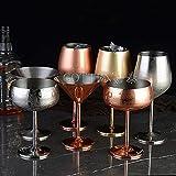 PPuujia Copas de vino tinto, acero inoxidable, plata, rosa, oro, taza de fiesta de policía, cocina de champán (color azul...
