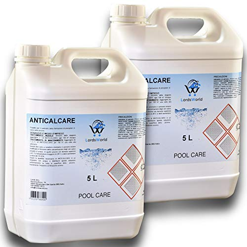 LordsWorld Pool Care - 10lt(2 X 5Lt) desincrustante líquido Evita la formación depósitos Cal - clarificadores y enzimas - Detener la calcificación - Tratamiento y Mantenimiento Piscina - antical-10LT