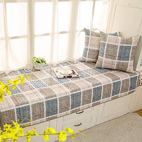 HUIYUE Pastorale Baumwolle Erker-Kissen,Anti-rutsch Fenster-fensterbank-Matte,Schlafzimmer Kissen für Fenster-sitzbank Matt mat Balkon Matte-B 90x160cm(35x63inch)
