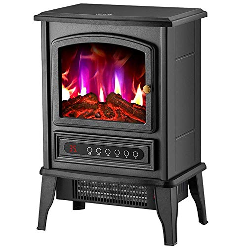 H.aetn Electric stove heater with wood burner flame effect - 2000W free standing fireplace with wood stove LED light mechanical