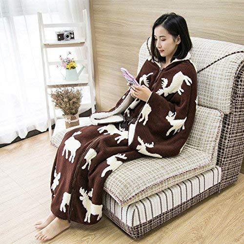 Crystallly flanel lamshemd mouwen lui deken deken sjaal mantel winter kantoor eenvoudige stijl dutje deken slaapzak 150 cm x 140 cm kaki
