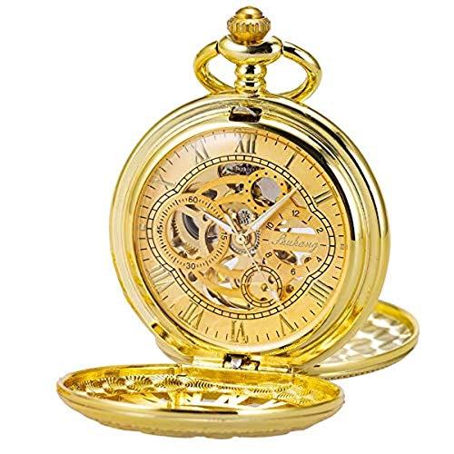 HSXQQL Taschenuhr Taschenuhr Skeleton Mechanisches Doppelgehäuse HandaufzugRömische Ziffern Antik Kettenkasten, Gold