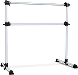 FDInspiration Silver 4FT Adjustable Ballet Barre Portable Double Freestanding Dance Bar