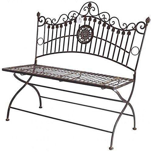 L'Héritier Du Temps zitbank, tuinstoel, voor 2 personen, opvouwbaar, van ijzer, bruin, 55 x 102 x 109 cm