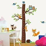 Walplus AY221 - Adesivo da parete con metro per bambini, motivo: albero con volpi, multico...