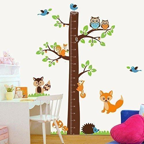 Walplus AY221 - Adesivo da parete con metro per bambini, motivo: albero con volpi, multicolore