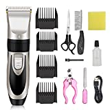 IVN Dog Clippers for Grooming Rechargeable Pet Clippers Low Noise Cat Clippers Electric with Comb Guides Scissors Nail Kits for Dogs and Cats & Other