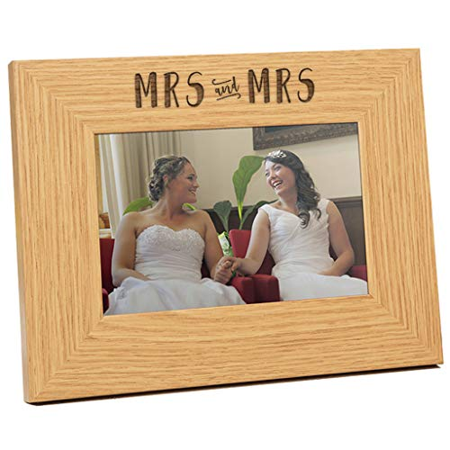Engraved Mrs and Mrs Wedding Photo Frame - Mrs and Mrs Gift - Mrs and Mrs Lesbian Wedding Gift - Gay Wedding Gift for Mrs and Mrs