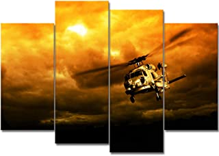 VividHome 4 Piece Airplane Canvas Prints Wall Art Vintage Military Helicopter on Orange Sunset Motivational Poster Art Large Retro Artwork for Living Room Bedroom Home Decor