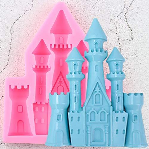 JLZK Moldes de Silicona de Castillo 3D DIY Herramientas de decoración de Pasteles de cumpleaños Moldes de Chocolate de Arcilla Dulce