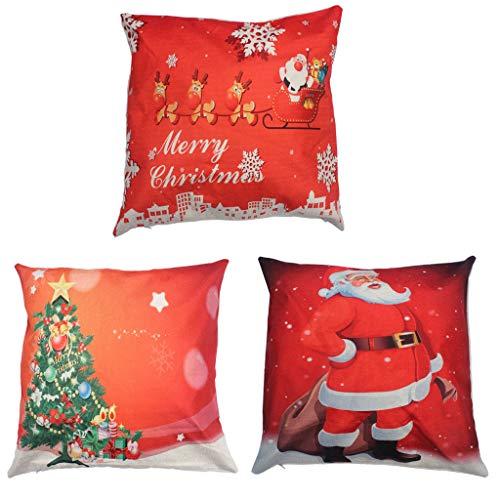 Joyeux Noël jeter oreiller couverture 3 Pack,taie d'oreiller en lin coton taie d'oreiller décorative maison housse pour canapé canapé Père Noël,Noël hiver cerf,arbre de Noël,rouge,18\