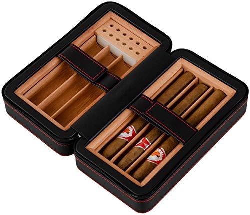 PANGPANGDEDIAN Bolso de Almacenamiento de cigarros de Viaje portátil, humidor de Madera con Tanque de hidratación de Madera de Cedro Incorporado Caja Decorativa