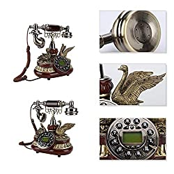PUSOKEI Classic European Vintage Retro Telephone, Old Fashioned Rotary Telephone Clock, Rotary Dial Antique Landline Corded Phone for Decor Office Home Dual System - FSK/DTMF
