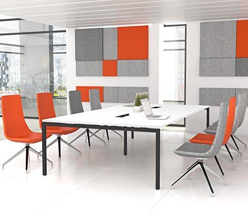 Weber Büroleben GmbH NOVA Konferenztisch 320x164cm Weiß mit ELEKTRIFIZIERUNG Besprechungstisch Tisch, Gestellfarbe:Anthrazit
