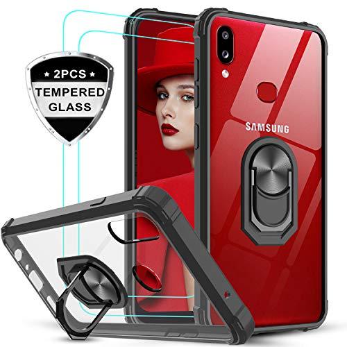 LeYi Funda Samsung Galaxy A10s con [2-Unidades] Cristal Vidrio Templado,Transparente Carcasa con 360 Grados iman Soporte Silicona Bumper Antigolpes Armor Case para Movil A10s,Clear Negro