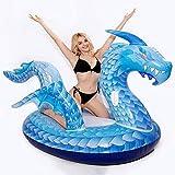 Drenaje Flotante de Dinosaurio Inflable en Anillo de natación de Caballo de dragón Volador Colorido Adulto Adecuado para Piscina, Playa, Playa, 250 cm, Uso de Piscina