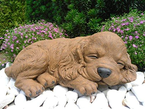 Steinfiguren Spicker Steinfigur Hund schlafend 153/2, Gartenfigur Steinguss Tierfigur Braun Patina