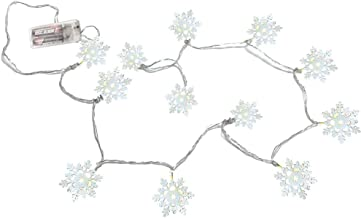 BANBERRY DESIGNS Snowflake Lighted Garland - 12 White Tin Snowflake Lights - LED Lighted Winter Christmas Garland - 200+ H...