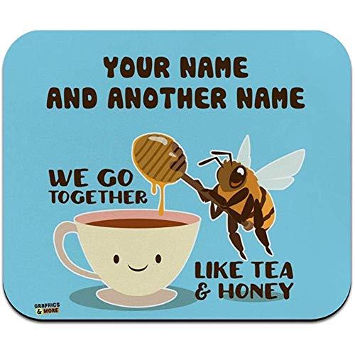 De Gjid 2 Linee Personaliseer je eigen huis als thee en honing met bijen en theekopje Best Friend dunne muismat met laag profiel