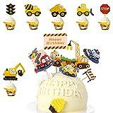 SUNSK Decoración para Tartas Infantiles Adorno para Tarta de Cumpleaño Niño Toppers para Tartas Coches Excavador Cake Topper Happy Birthday Pastel Topper 36 Piezas