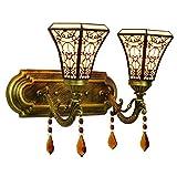 Mate Moderno Estilo Europeo vidrieras estilo árabe arte sencillo dormitorio cama lámpara de pared doble cristal moderno bar pasillo lámpara de cristal de doble cabezal