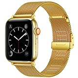 Swhatty Bands Compatible with Apple Watch Band 42mm 44mm for Women Men, Stainless Steel Milanese Mesh Loop Adjustable Strap Replacement for iWatch Series 6/5/4/3/2/1/SE, Gold