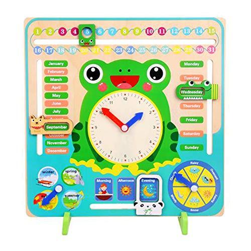 SUNERLORY Reloj de Calendario No tóxico Forma de Madera de Dibujos Animados Juguetes biselados Los niños desarrollan la cognición Educación temprana Kindergarten Juguete de Aprendizaje