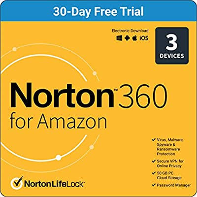 Norton 360 Free Trial – Antivirus software for up to 3 Devices with Auto Renewal [Subscription]
