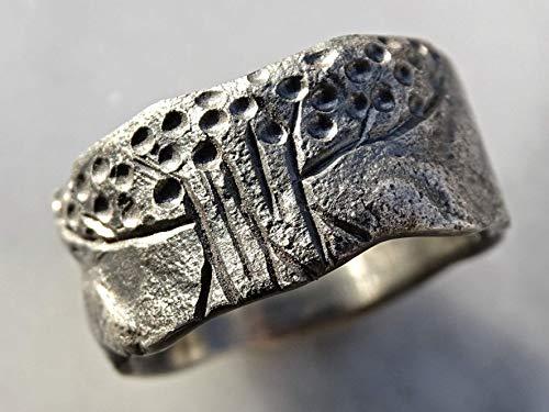 Tree of Life Ring Black Silver, Rustic Viking Ring, Celtic Wedding Band, Matching Wedding Rings, Mens Wedding Band Organic, Meteorite Ring