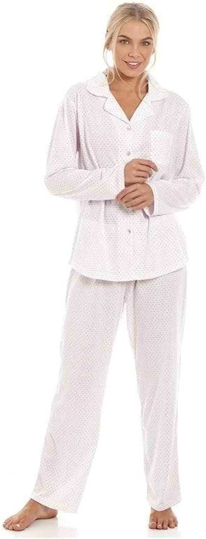 Camille Conjuntos de Pijama con Botones de Manga Larga con Botones de Punto Largo para Mujer