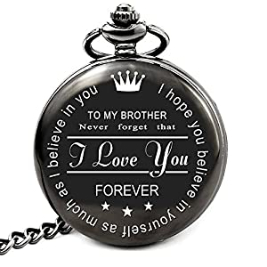 """Engraved pocket watch gift idea featuring the words """"To My Brother: Never forget that I Love You. I hope you believe in yourself as much as I believe in you - FOREVER"""" The best present: great birthday gifts / valentines day gifts / christmas gifts fo..."""