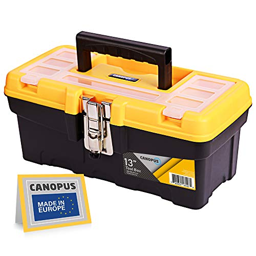 CANOPUS Plastic Toolbox 13inch Portable Tool Box with Metalic Clutch Tool Organizer with Extra Storage Tray for Home Tools Nails and Pins BlackYellow