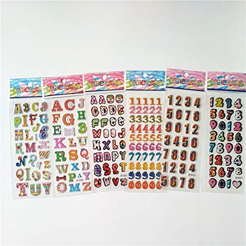 6 Sheets Different 3D Cartoon Number ABC Stickers Pegatinas Toy For Kids On Diary Phone Laptop New Year Gifts Figure Alphabet