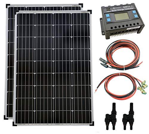 solartronics Komplettset 2x100 Watt Monokristallin 5-Busbars 20A Laderegler 12V / 24V Kabel Photovoltaik
