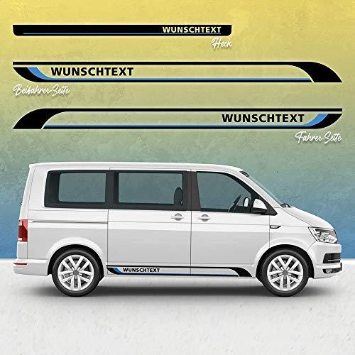Auto-Dress - Juego de pegatinas para coche Volkswagen T5 y T6, diseño de texto deseado (negro y azul, larga distancia entre ejes)