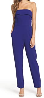 40c29e3acab8 Vince Camuto Womens Strapless Crepe Tapered Jumpsuit Blue 16
