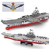 TETAKE Technic Porte-Avions Jeu de Construction - 1:350 Porte-Avions Militaire avec 36 Combattant et 8 Véhicule Militaire - 3010 Blocs et 20 Minifigures Soldat