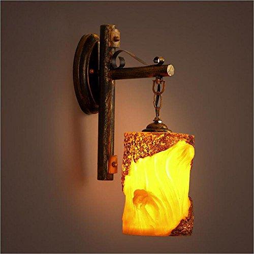 NIHE E27 loft rétro rustique café lampe murale en bois salon créatif lampe murale en fer forgé