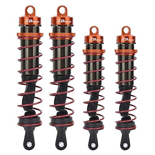 Amortiguador de Choque Trasero Delantero del Coche de 4 Piezas RC, Amortiguador de Choque Ajustable de Presión de Aceite de Metal Accesorios de Reemplazo de Actualización RC para 1/8 RC Car(Naranja)