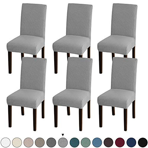 Turquoize Dining Room Chair Covers Stretch Dining Chair Slipcover Parsons Chair Covers Chair Furniture Protector Covers Removable Washable Chair Cover for Dining Room, Hotel, Ceremony (6, Dove)