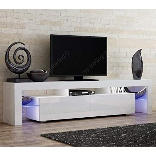 Modern Tv Unit 200cm Cabinet White Matt And White High Gloss Free