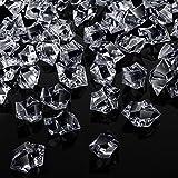 150 Cubos de Hielo Acrílicos Cubitos de Hielo Falsos Rocas de Hielo Triturado de Plástico 1 Pulgada Diamantes Cristales Gemas para Rellenos Jarrón, Dispersión de Mesa, Boda (Transparente)