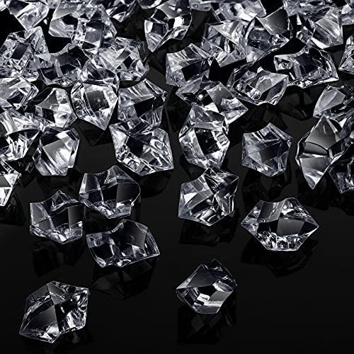 Jetec 150 Diamanti di Cubetti Ghiaccio Finti Rocce di Ghiaccio Tritate in Plastica 1 Pollice Gemme di Cubetti Ghiaccio Finti Cristalli Acrilici per Vasi, Tavola, Compleanno (Chiaro)