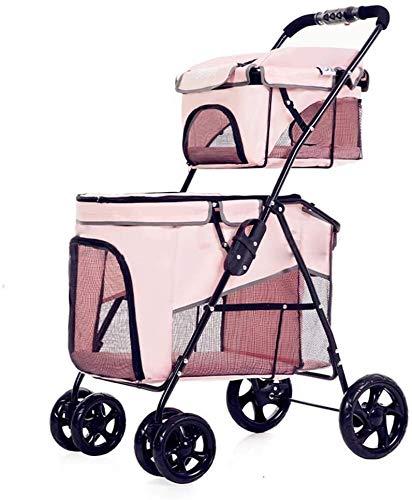 Hunde-Spaziergänger Haustier-Spielraum-Spaziergänger Haustier-Auto-Sitzbreathable Double Layer 2 Lenkrollen Leichte Kinderwagen Pram-Rüttler (Color : Pink)