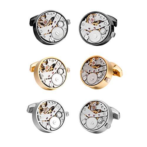sharprepublic 3 Paar Gothic Messing Manschettenknöpfe Uhrwerke Mechanische Manschettenknöpfe