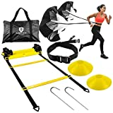 Guardian-Elite Fitness Agility Ladder Speed Training Equipment Set - Includes Exercise Footwork Ladder, Dual Resistance Parachute, 6 Speed Cones and Sports Bundle Carrying Bag