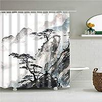 AUGHTM 油絵山ポートレートマップスカイスターパターンシャワーカーテンバスルームカーテン生地防水ベルトフック