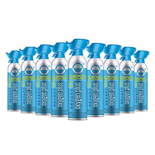 Oxygen Plus FDA-Registered Facility-Filled 99.5% Pure Recreational Oxygen Cans - O+ Biggi 9-Pack - Each Portable Oxygen Canister is 220+ Breaths, 11 litres - Restore Oxygen Levels w/Canned Oxygen